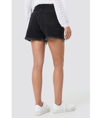 NA-KD 1018-002616 High Waist Raw Hem Denim Shorts // BLACK WASH