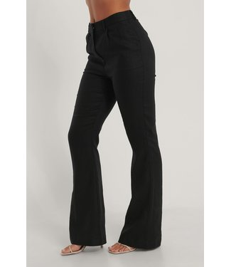 NA-KD Flared linnen pants 1018-006750 - black