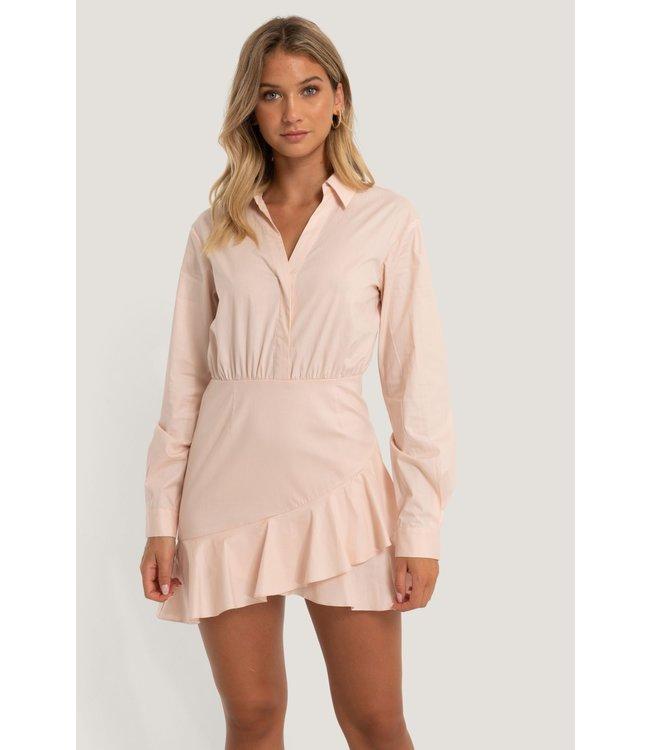 Shirt flounce dress 006854 - pink