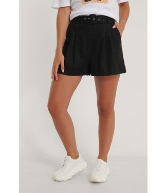 NA-KD Highwaist linen shorts 006859 - black