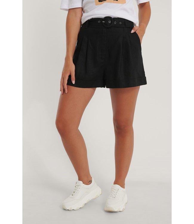 Highwaist linen shorts 006859 - black