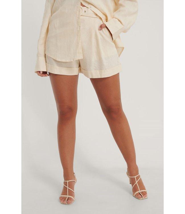 Highwaist linen shorts 006859 - beige