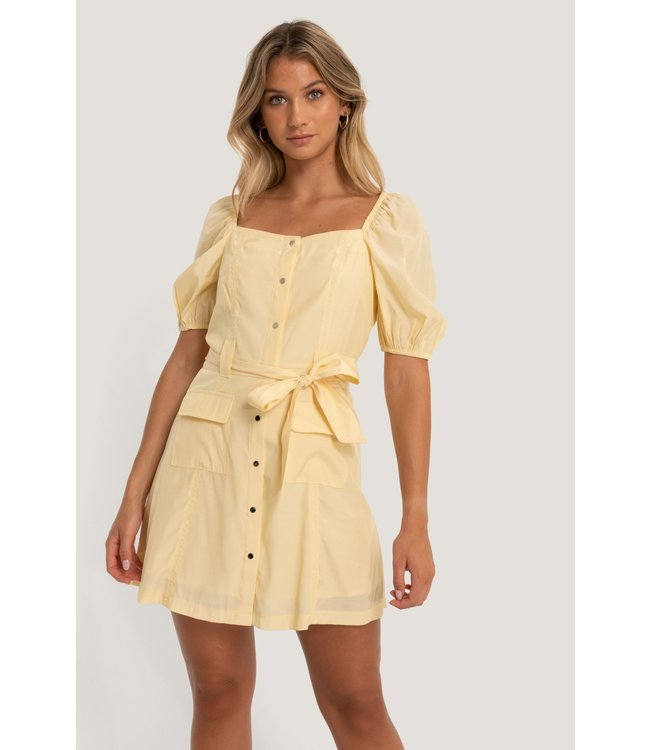 Puff Sleeve Dress 006848 - Light Yellow
