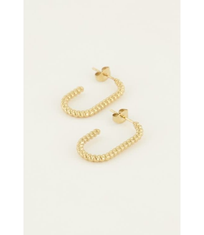 Oorbellen ovaal gedraaid MJ04814-1200 goud