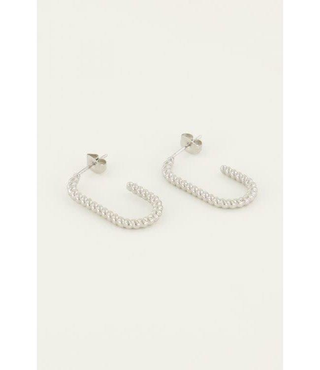 Oorbellen ovaal gedraaid MJ04814-1500 zilver