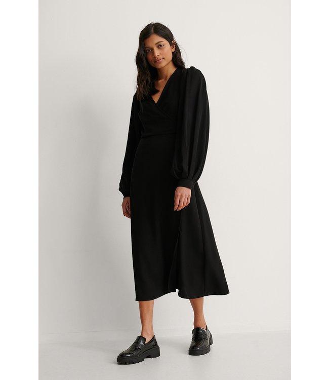 Puff Sleeve Overlap Dress 006410 - Black
