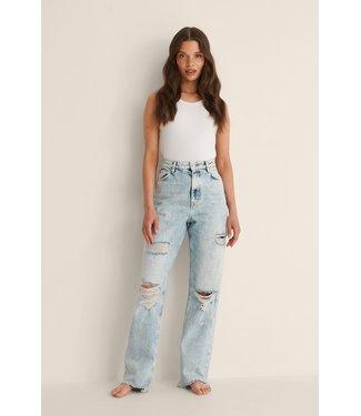 NA-KD Destroyed high waist jeans 007931 - light blue