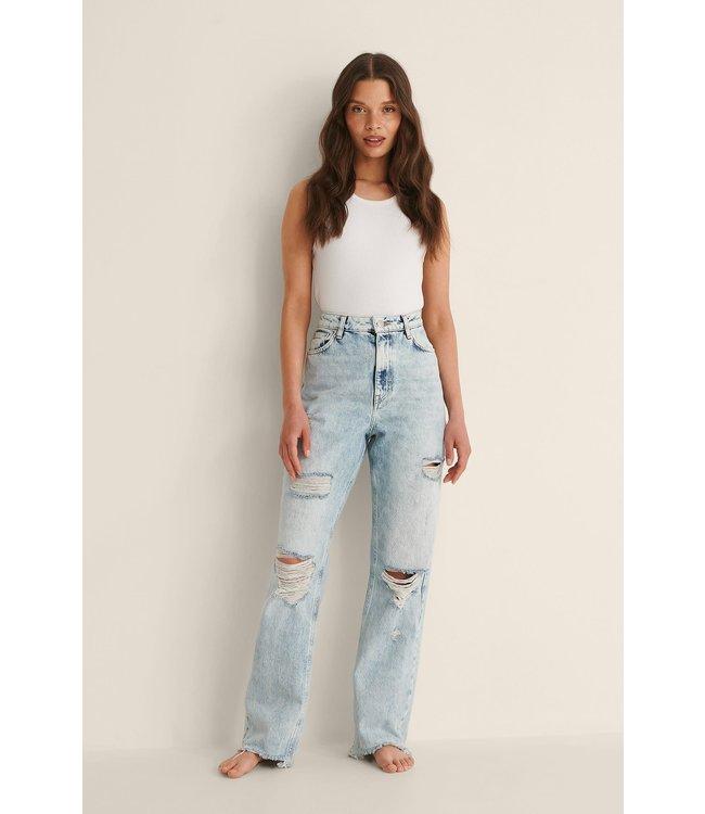Destroyed high waist jeans 007931 - light blue