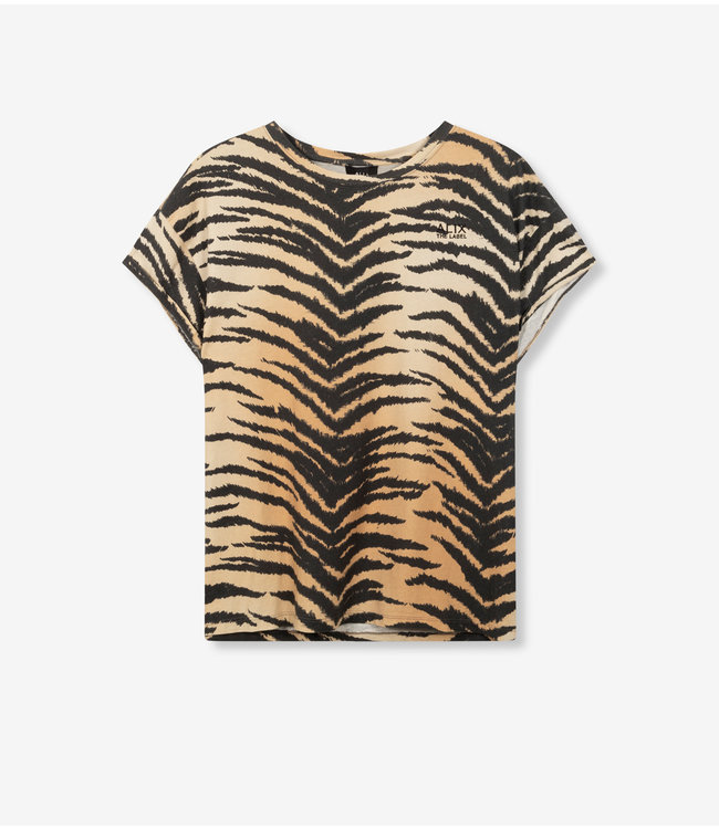 knitted boxy allover tiger t-shirt animal