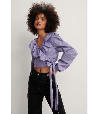 NA-KD Cotton frill blouse 000616 - lilac