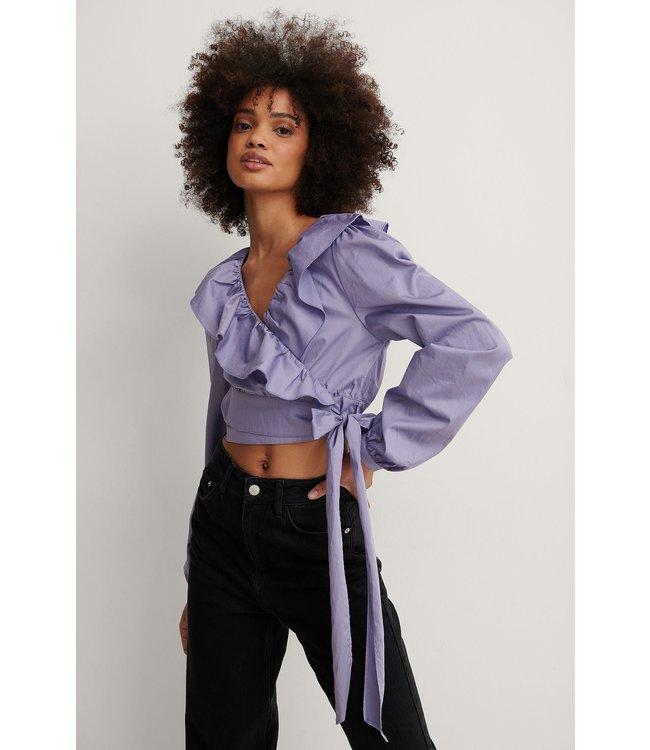 Cotton frill blouse 000616 - lilac