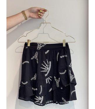 ALIX woven coloured broderie skirt black