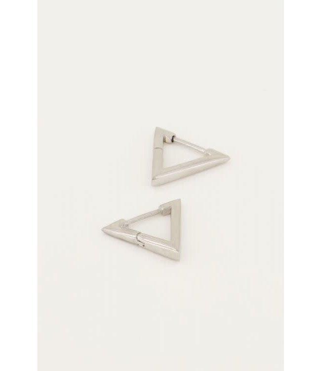 Oorbellen driehoek klein MJ046131500 Zilver