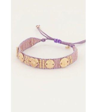 My Jewellery kralenarmband met goudkleurige MJ045880700 Paars