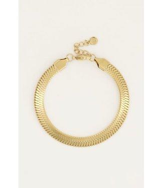 My Jewellery Armband schakels plat MJ050481200 Goud