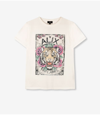 ALIX knitted acid washed tiger t-shirt soft white
