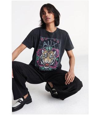ALIX knitted acid washed tiger t-shirt black