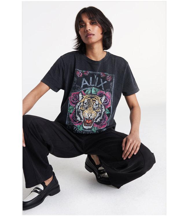knitted acid washed tiger t-shirt black