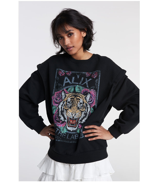 knitted cotton tiger sweater black