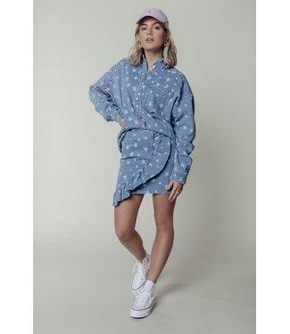 Colourful Rebel 11053 - Yolene Star Ruffle Mini Skirt Blue