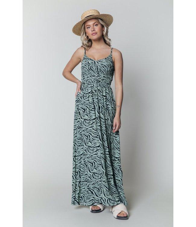 11207 - Sophie Zebra Maxi Dress - Green