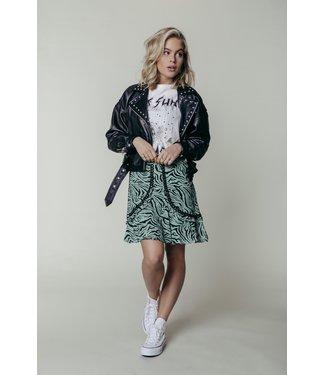 Colourful Rebel 11213 - Maud Zebra Mini Skirt Lt Green