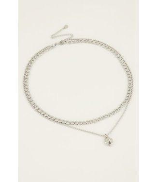 My Jewellery Dubbele schakelketting met slot MJ04200 zilver