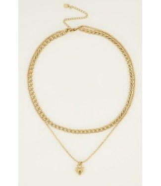 My Jewellery Dubbele schakelketting met slot MJ04200 goud