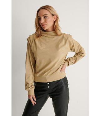 NA-KD Pleated detail sweater 004248 - khaki