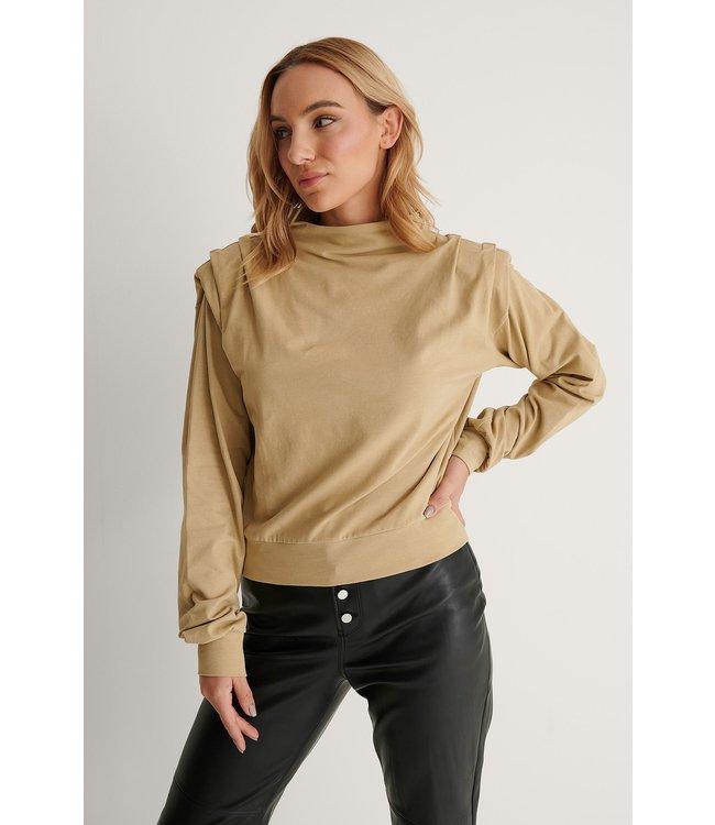 Pleated detail sweater 004248 - khaki
