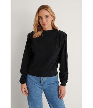 NA-KD Pleated detail sweater 004248 - black