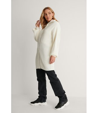 NA-KD Long zipper sweater 004256 - offwhite