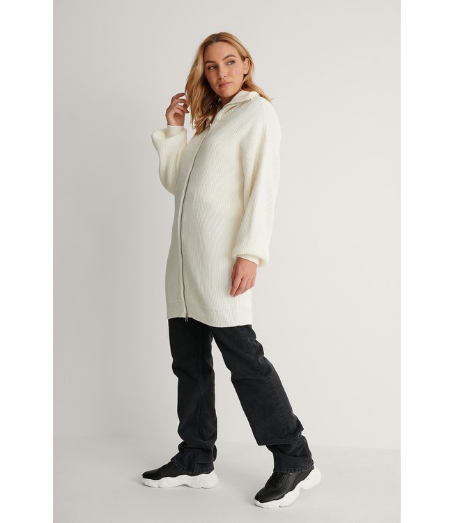 Long zipper sweater 004256 - offwhite