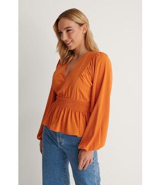 NA-KD Smocked waist blouse 001151 - orange
