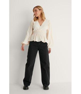 NA-KD Smocked waist blouse 001151 - offwhite