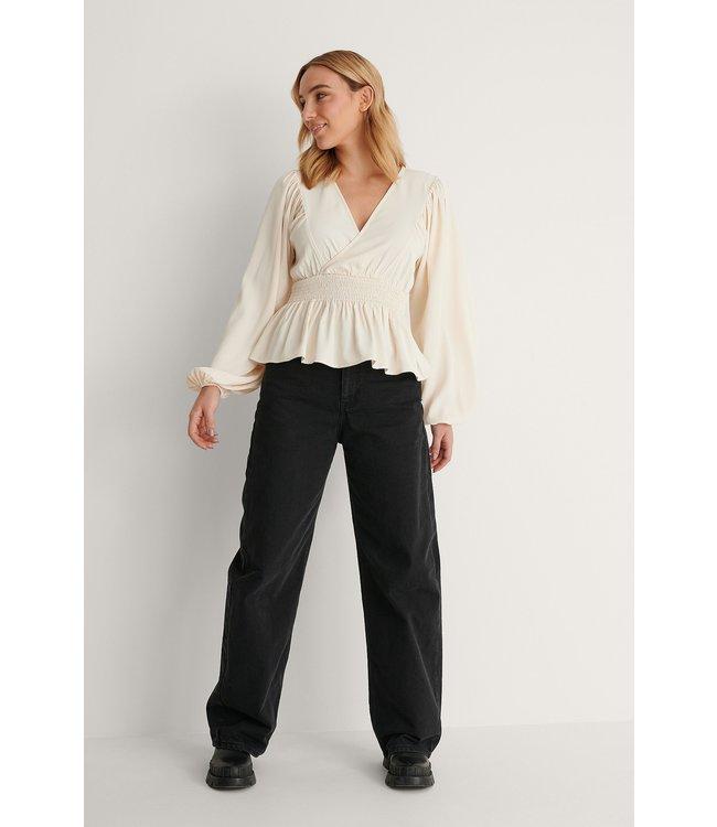 Smocked waist blouse 001151 - offwhite