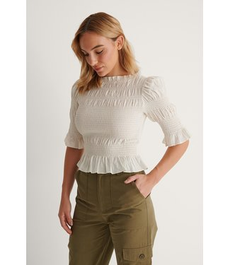 NA-KD High neck smocked blouse 007262 - offwhite