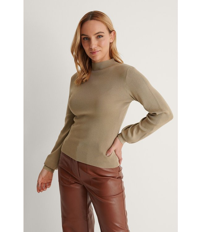 High neck knitted polo 004251 - khaki