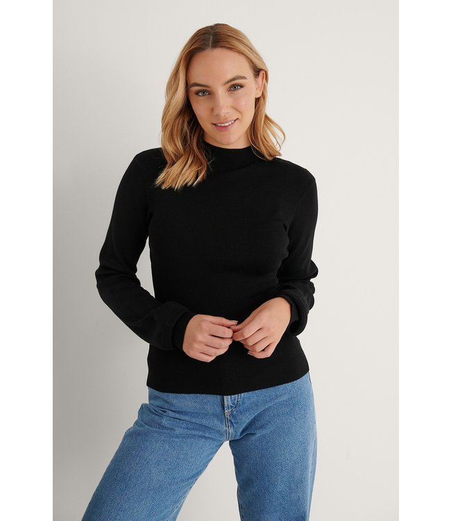 High neck knitted polo 004251 - black