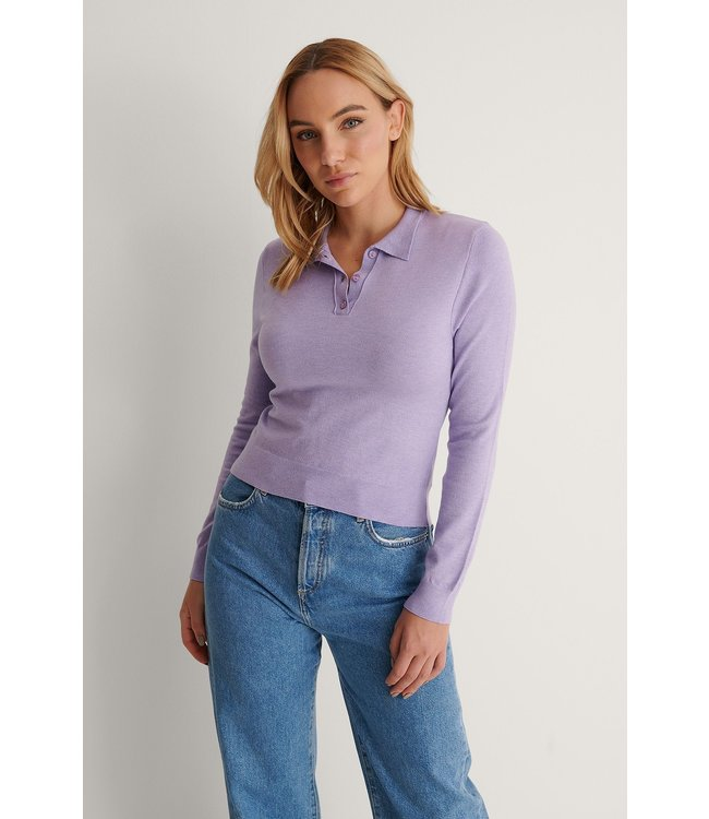 Buttoned detail sweater 004252 - purple
