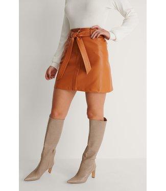 NA-KD Belted pu mini skirt 007273 - orange
