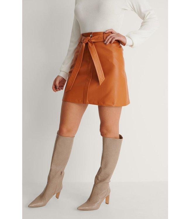 Belted pu mini skirt 007273 - orange