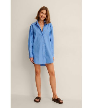 NA-KD Oversized cotton shirt dress 000567 - blue