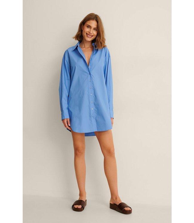 Oversized cotton shirt dress 000567 - blue