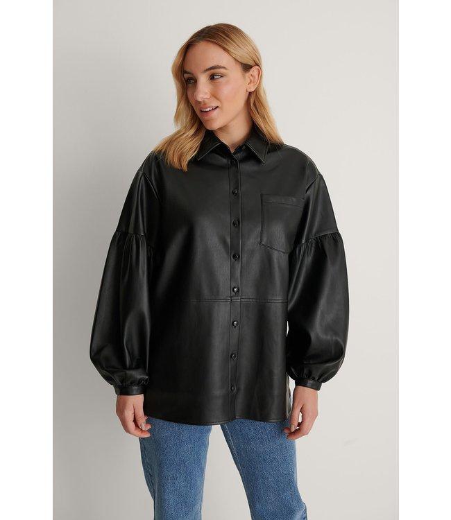 Oversized puff sleeve pu shirt 007353 - black