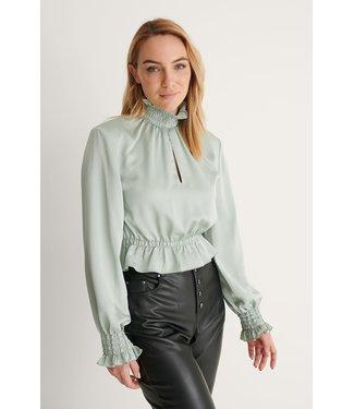 NA-KD Padded shoulder blouse 007355 - light green