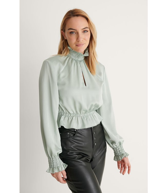 Padded shoulder blouse 007355 - light green