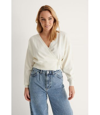 NA-KD Overlap knitted cardigan 004325 - offwhite