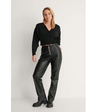 NA-KD Overlap knitted cardigan 004325 - black