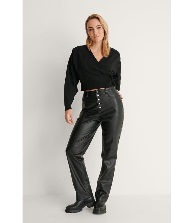 Overlap knitted cardigan 004325 - black